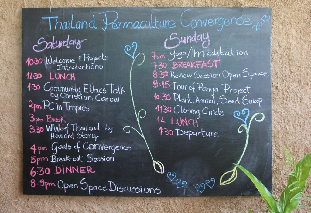 Schedule of the 1st Thailand Permaculture Convergence 2013